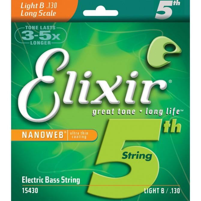 Elixir 15430 Nanoweb Nickel Single String Low B Light, Long Scale .130