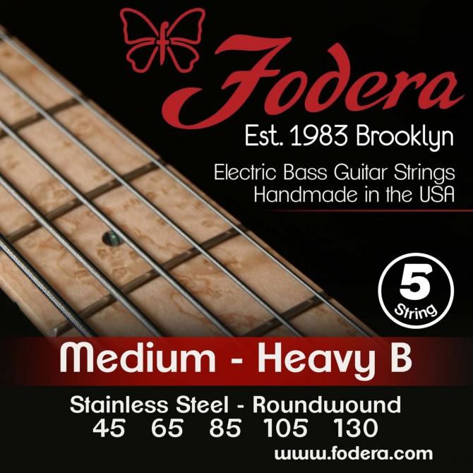 Fodera 45130N Nickel 5 String Medium (45 - 65 - 85 - 105 - 130) Long Scale