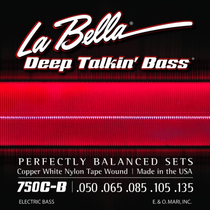 Labella 750C-B-XL Copper White Nylon Tapewound 6 String Light (43 - 50 - 65 - 85 - 105 - 135) Extra Long Scale