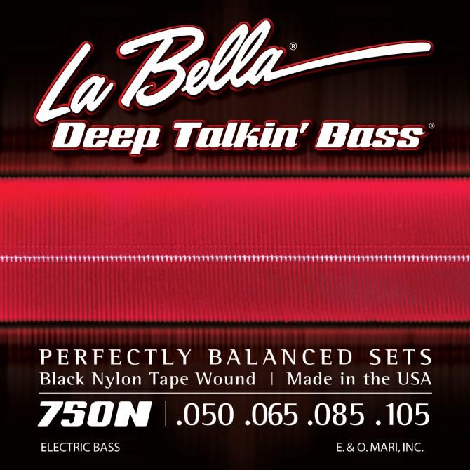 Labella 750N Black Nylon Tapewound 4 String Light (50 - 65 - 85 - 105) Long Scale