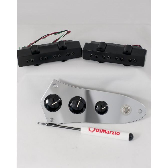 Dimarzio DP123-BK (With Control Plate) 4 String Jazz L/S Size Model J Split Coil Set