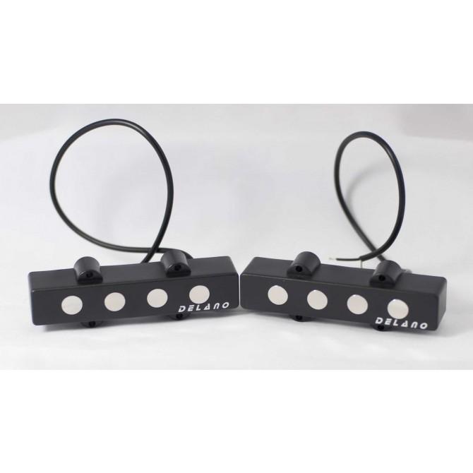 Delano JMVC4 FE/M2 (White Covers) 4 String Jazz L/S Size Split Coil Set