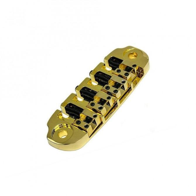 Hipshot DStyle 2Piece 6String Bridge Only .656 Bass Bridge Gold 16.5mm Spacing