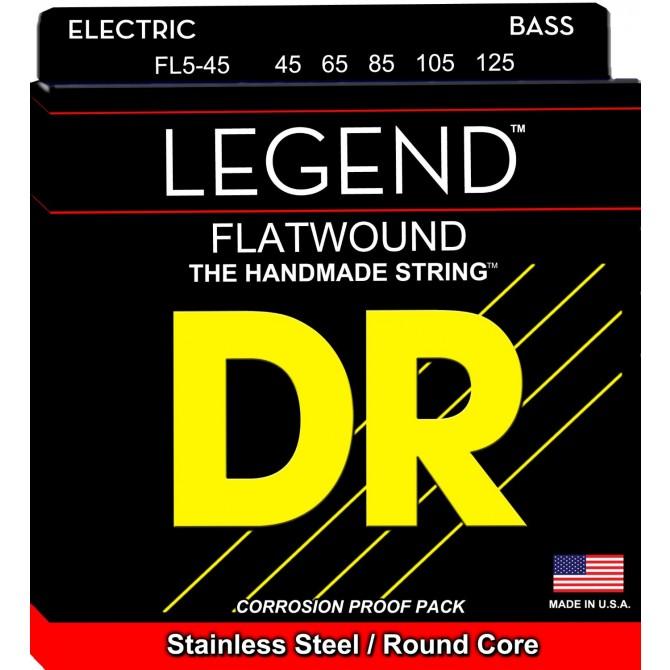 DR FL5-45 Legend Flatwound 5 String Medium (45 - 65 - 85 - 105 - 125) Long Scale