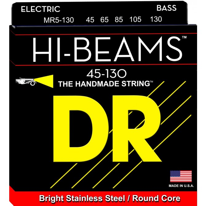 DR MR5-130 Hi Beam 5 String Medium (45 - 65 - 85 - 105 - 130) Long Scale