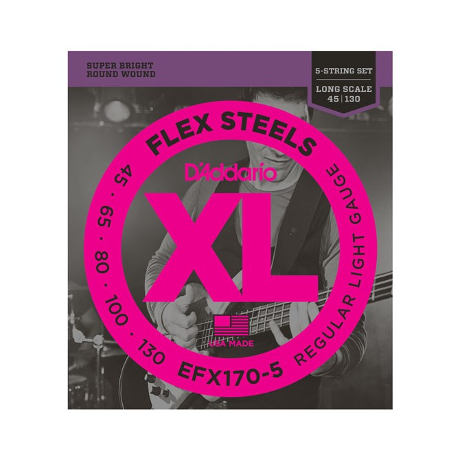 Daddario FlexSteels Series - EFX170-5 5 String Set (Discontinued by Manufacturer)