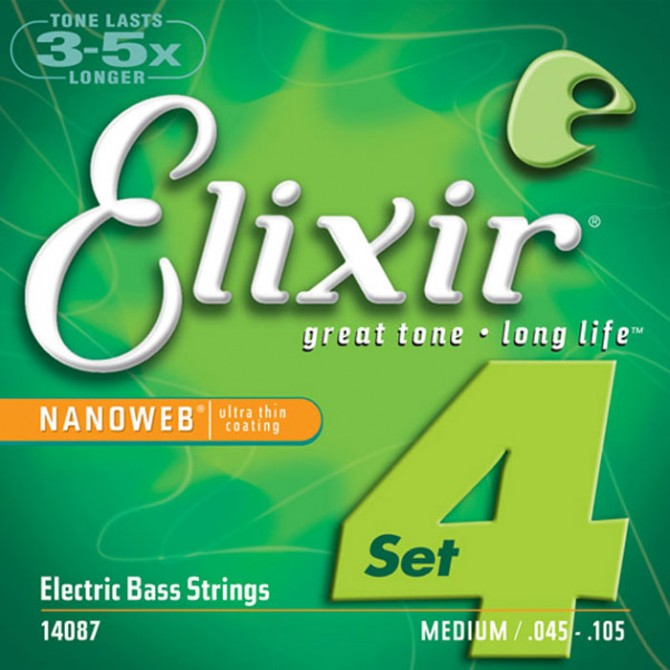 Elixir 14087 Nanoweb Nickel 4 String Medium Light (45 - 65 - 85 - 105) Extra Long Scale