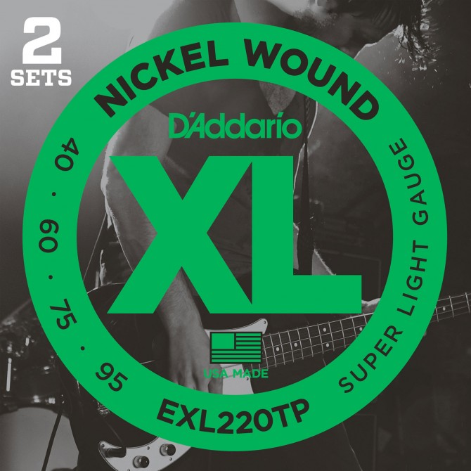 Daddario EXL220TP Nickel Wound Twin Pack 4 String Super Light (40 - 60 - 75 - 95) Long Scale
