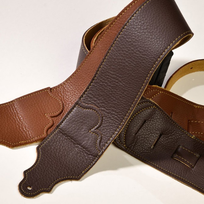 "Franklin Original Natural Glove Leather Chocolate 3"" Strap with Gold Stitch"