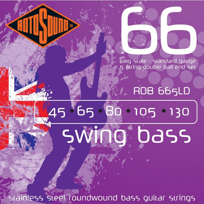 Rotosound RDB665LD Swing Bass 66 Stainless Double Ball 5 String Standard (45 - 65 - 80 - 105 - 130) Long Scale
