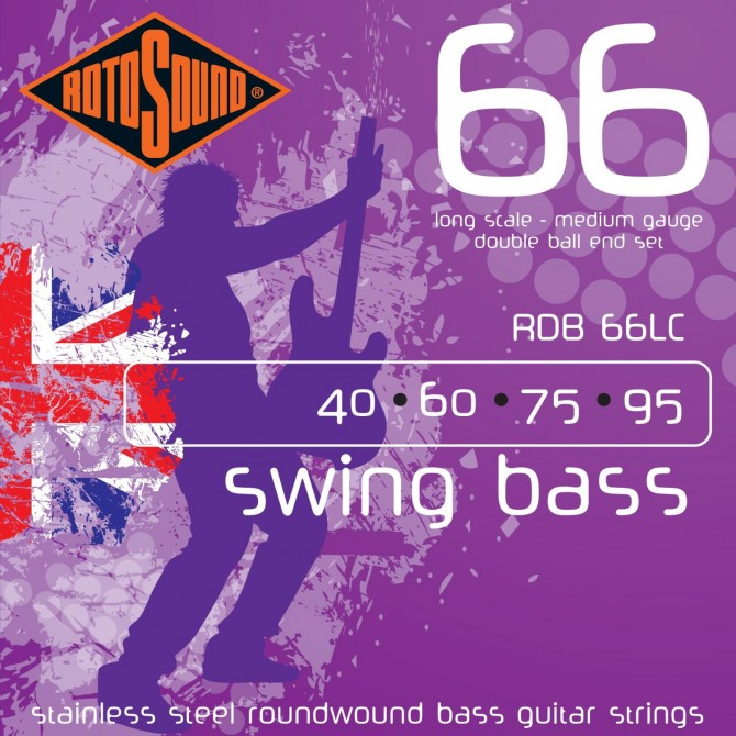 Rotosound RDB66LC Swing Bass 66 Stainless Double Ball 4 String Medium (40 -  60 - 75 - 95) Long Scale