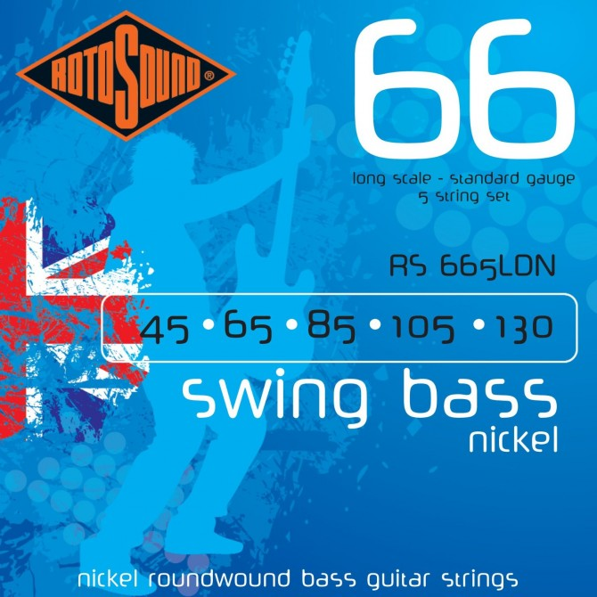 RotoSound RS665LDN Swing Bass 66 Nickel 5 String Standard (45 - 65 - 80 - 105 - 130) Long Scale