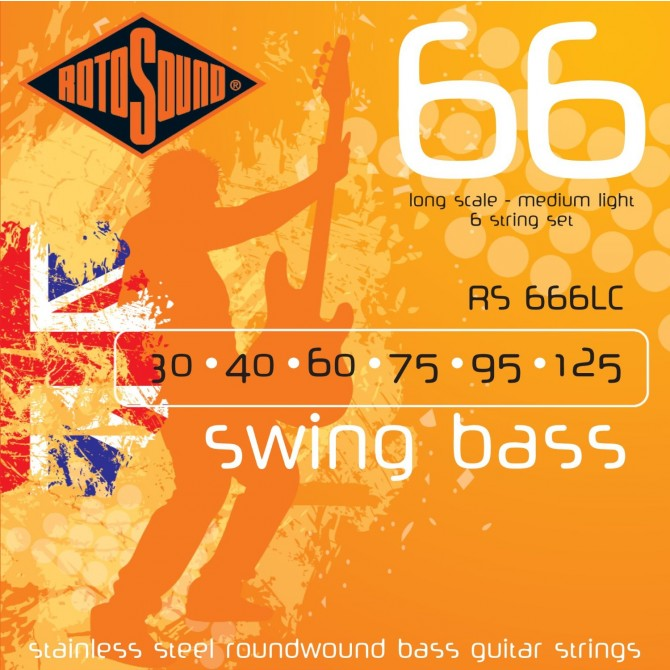 Rotosound RS666LC Swing Bass 66 Stainless 6 String Medium (30 - 40 - 60 - 75 - 95 - 125) Long Scale
