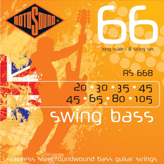 Rotosound RS668 Swing Bass 66 Stainless 8 String (23 - 30 - 35 - 45 - 45 - 65 - 80 - 105) Long Scale