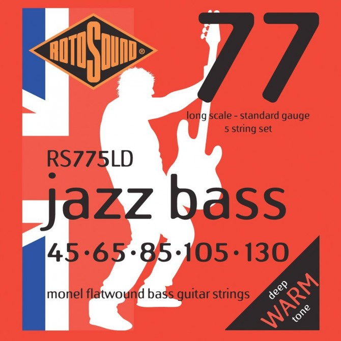 RotoSound RS775LD Jazz Bass 77 Monel Flatwound 5 String Standard (45 - 65 - 85 - 105 - 130) Long Scale