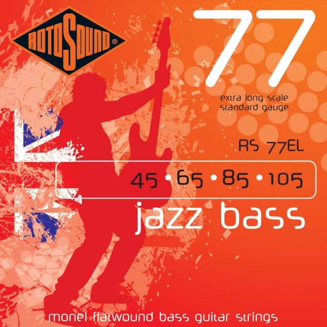 RotoSound RS77EL Jazz Bass 77 Monel Flatwound 4 String Standard (45 - 65 - 85 - 105) Extra Long Scale