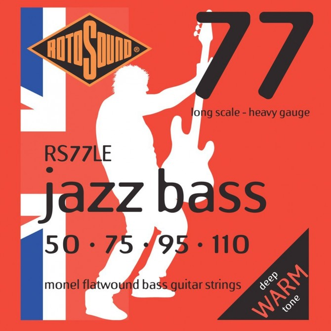 Rotosound RS77LE Jazz Bass 77 Monel Flatwound 4 String Heavy (50 - 75 - 95 - 110) Long Scale