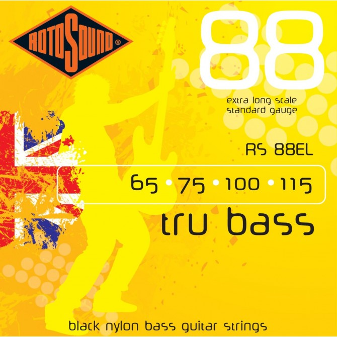 Rotosound RS88EL Tru Bass 88 Black Nylon Tapewound 4 String Standard (65 - 75 - 100 - 115) Extra Long Scale