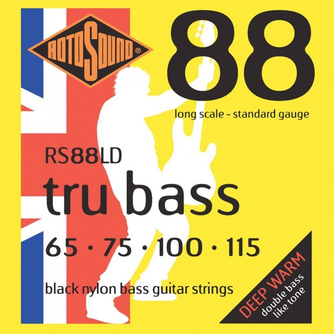 Rotosound RS88LD Tru Bass 88 Black Nylon Tapewound 4 String Standard (65 - 75 - 100 - 115) Long Scale