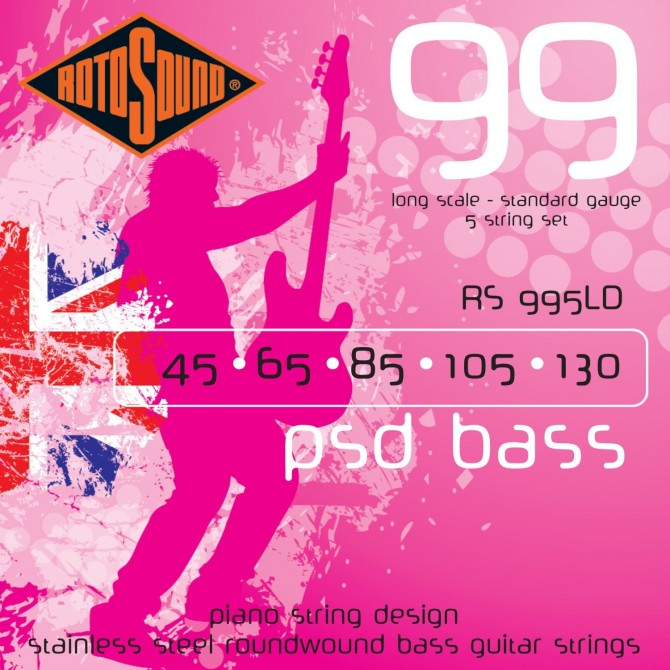 Rotosound RS995LDG PSD Bass 99 5 String Standard (45 - 65 - 85 - 105 - 130) Long Scale