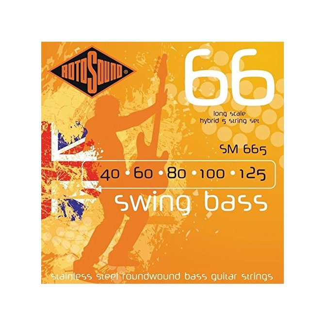 RotoSound SM665 Swing Bass 66 Stainless 5 String Hybrid (40 - 60 - 80 - 100 - 125) Long Scale