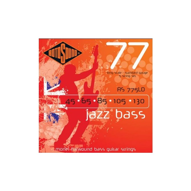 Rotosound RS776LD Jazz Bass 77 Monel Flatwound 6 String Standard (30 - 45 - 65 - 85 - 105 - 130) Long Scale