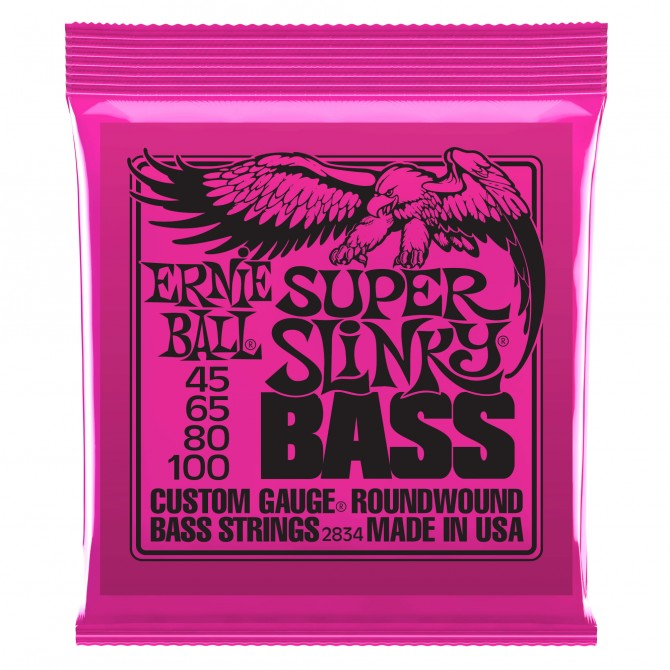 Ernie Ball Super Super Slinky Nickel Wound Electric Bass Strings - 45-100 Gauge